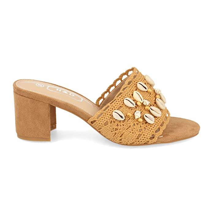 Sandalias boho de tacón camel
