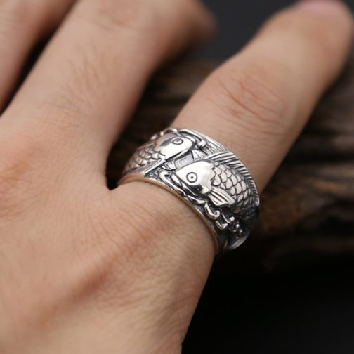 Ring 100% 925 Sterling Silver Men Fine Jewelry New Arrival Wide Carp Annual Surplus GR45