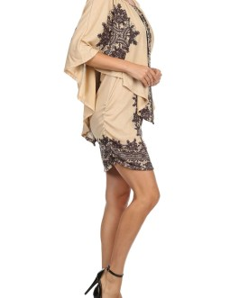 Boho Chic Printed Dress Poncho Knit Pullover
