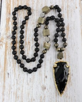 Black Obsidian Women Necklace Raw Pyrites