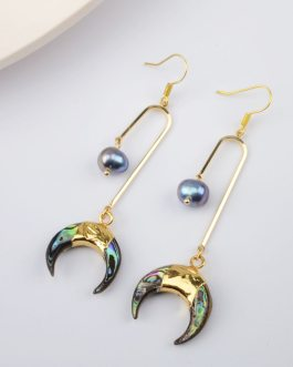 Boho Natural Black Pearl Earrings Natural Abalone