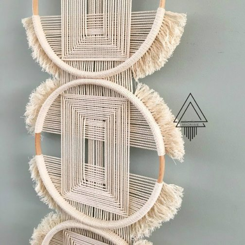 Creative wall hanging soft decoration with three rings woven and connected tapestry hanging decorations mexican home decoration