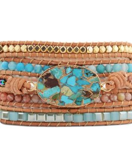 Boho Chic Unique Mixed Gilded Stones Charm 5 Strands Wrap Bracelets
