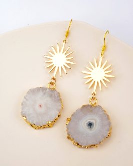 Boho Chic White Solar Quartz Earrings Handmade Natural Crystal