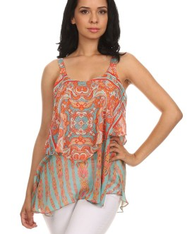 Boho Chic Chiffon Colorful Tank Top