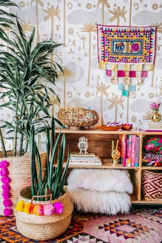 Habitación decorada al estilo boho chic