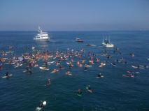 Paddle out at Venice Pier celebrating the life of skate and surf legend, Jay Adams