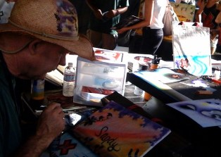 Airbrush booth for X Games memorabilia