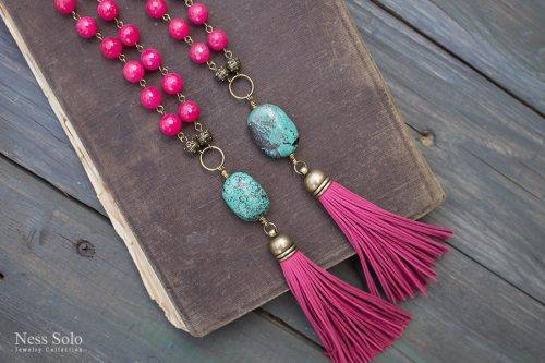 Ness Solo ярко-розовое ожерелье