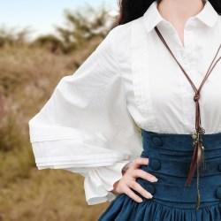 Boshow белая блузка с широкими рукавами-фонарь