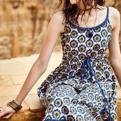 Artka платье в желто-синие узоры