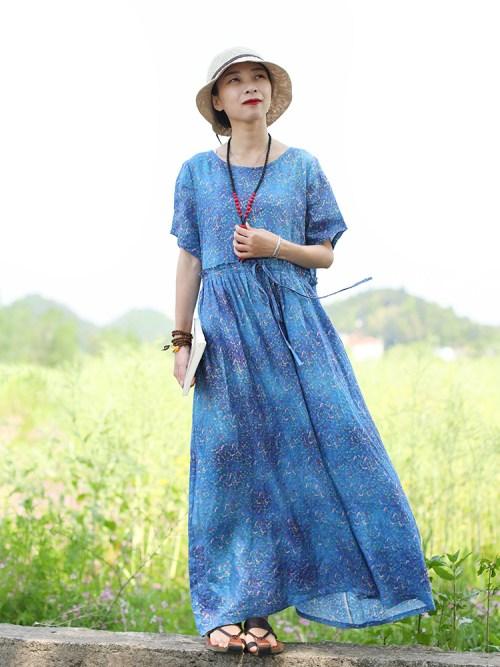 Chaos in Gangnam синее платье в мелкий рисунок