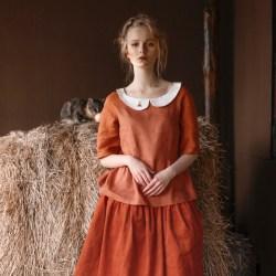 WonderMary блуза из рыжего льна