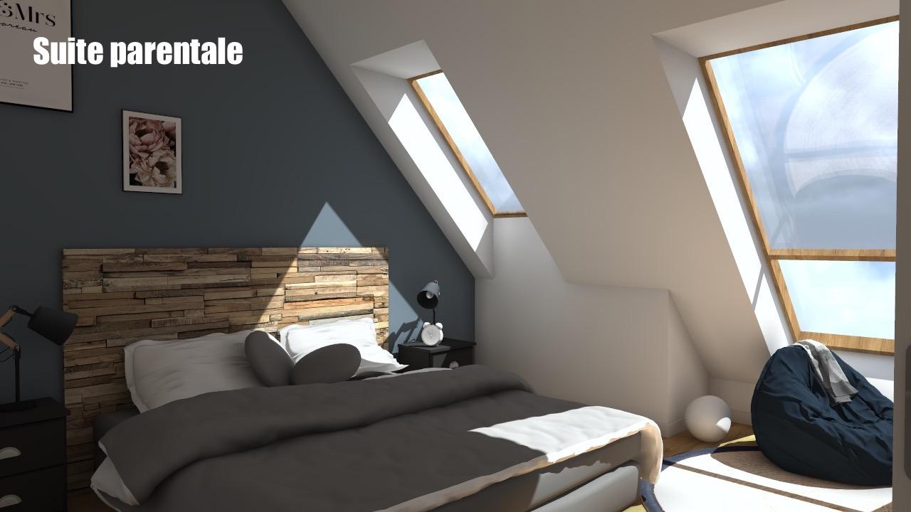 Chambre avec tete de lit en bois et mur bleu