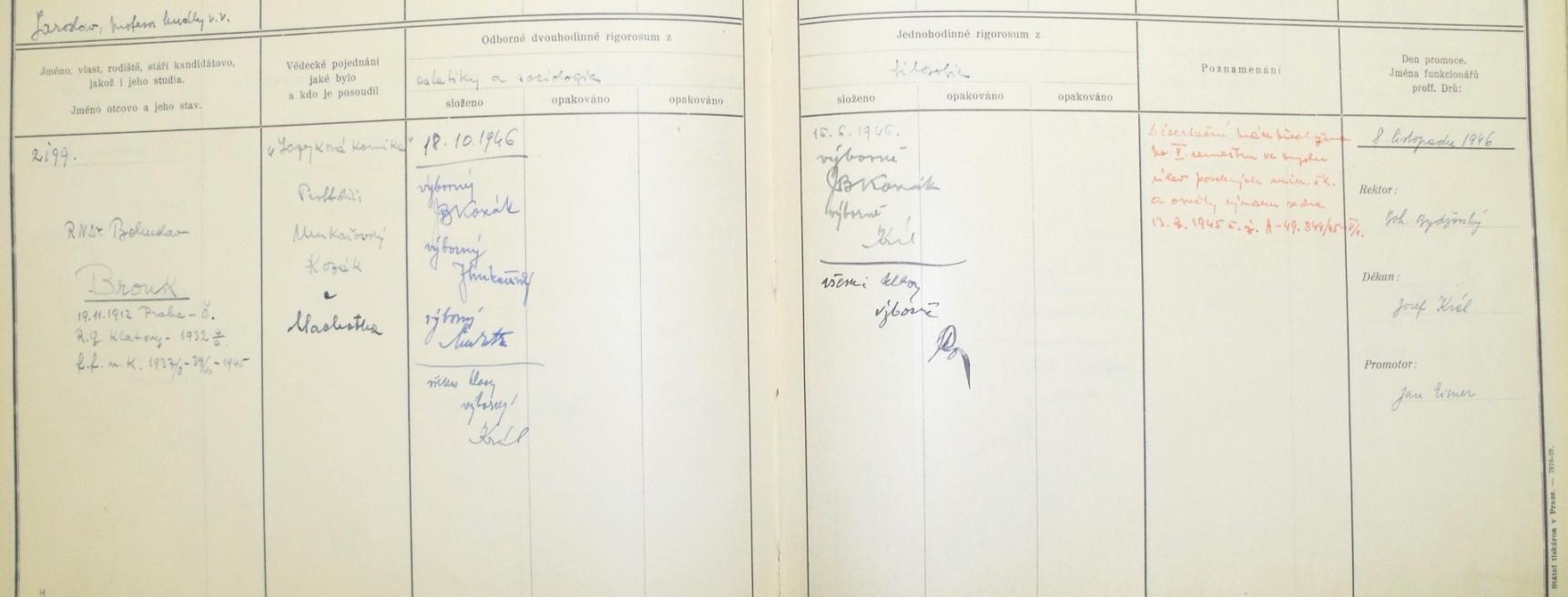 Protokol o doktorských zkouškách (1946)