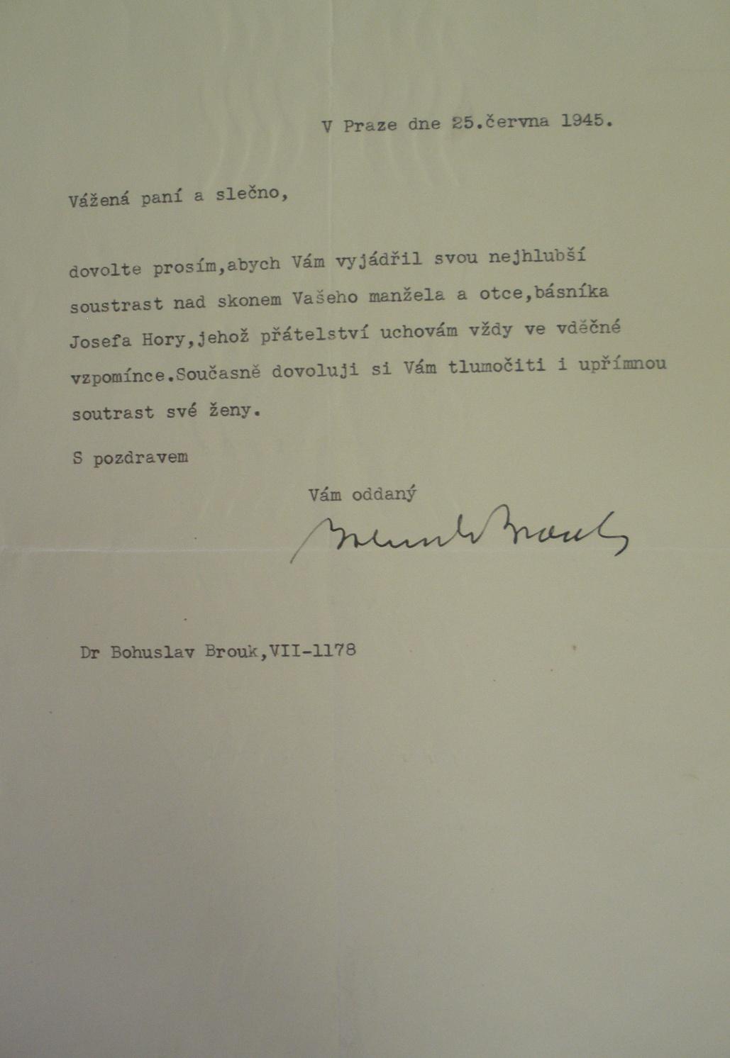 Kondolence pozůstalým po Josefovi Horovi, 25. června 1945