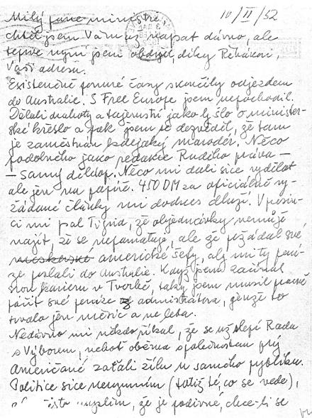 První strana dopisu Hubertu Ripkovi (10. února 1952)