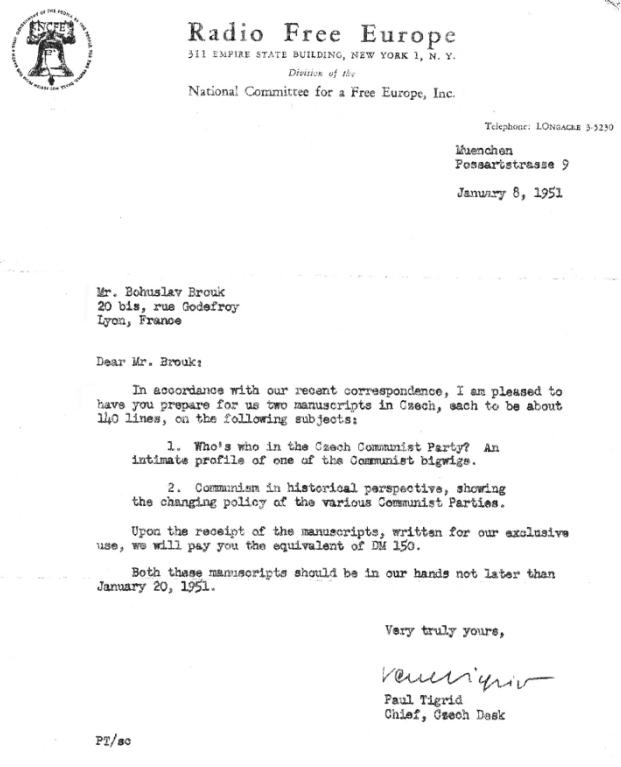 Dopis Pavla Tigrida (8. ledna 1951)