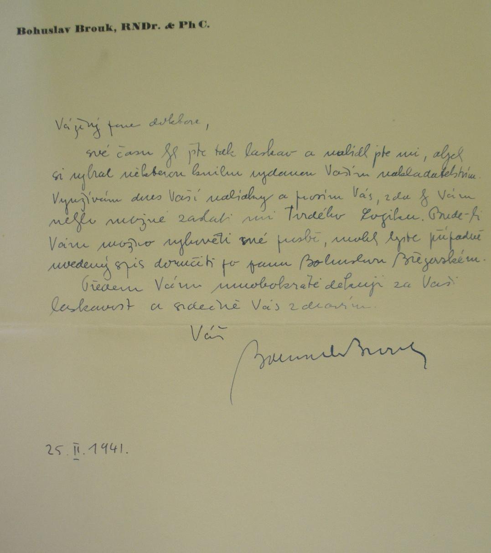 Dopis Josefu Trägerovi, 25. února 1941