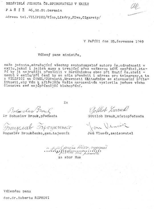 Dopis Hubertu Ripkovi (25. července 1949)