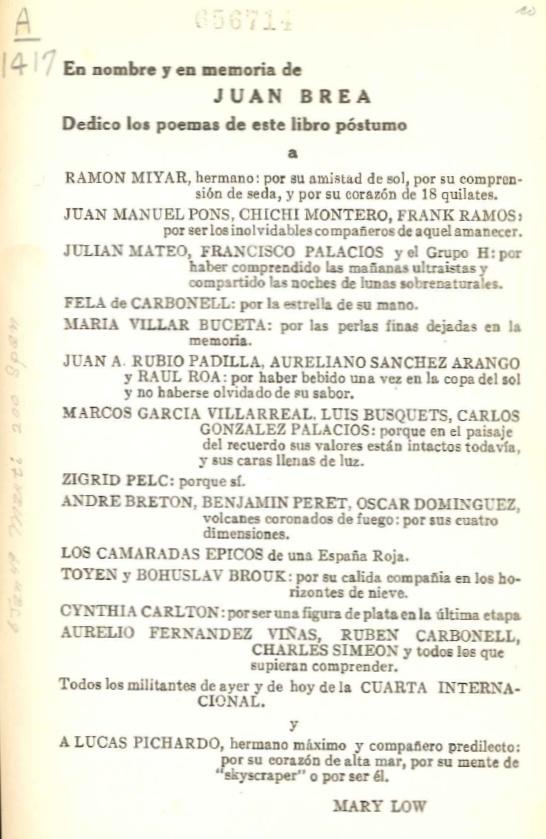 Věnování z publikace Juana Breá Poemas de entonces (La Habana, 1942)