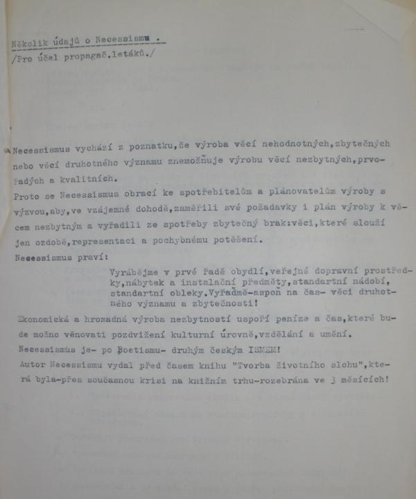 Z úvodu přípravného materiálu k založení klubu pro studium spotřeby Necessismus (1946)
