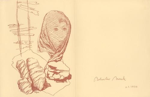 P. F., kresba Toyen, 1936