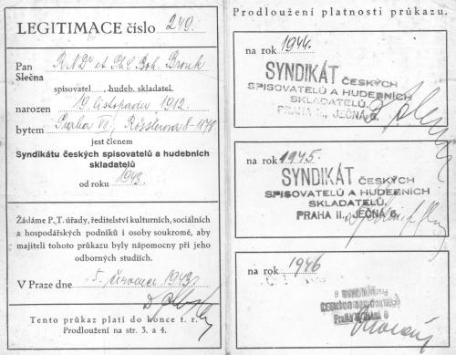 Vnitřní strany legitimace Syndikátu českých spisovatelů a hudebních skladatelů, 1943