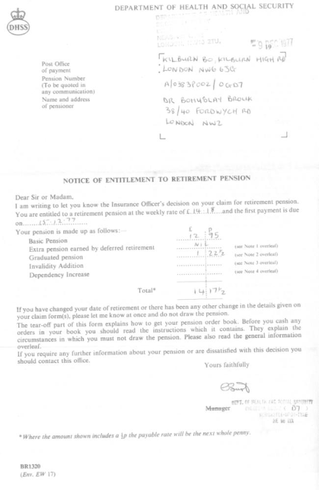 Rozhodnutí o udělení důchodu (9. prosince 1977)