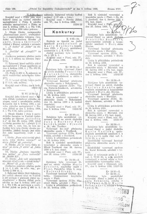 Oznámení o konfiskaci knihy O smrti, lásce a žárlivosti (1936) uveřejněné v Úředním listu RČS, 9. května 1936