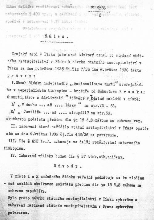 První strana nálezu krajského soudu v Písku, 6. května 1936 týkající se knihy O smrti, lásce a žárlivosti (1936)