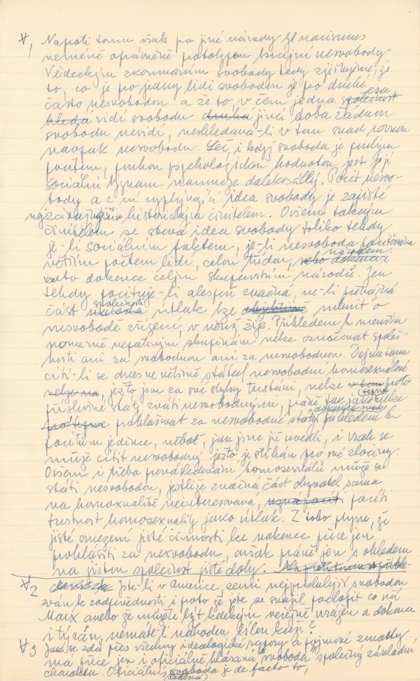 Rub str. 449 rukopisu O šalbě svobody a filosofie: Pojem svobody v dějinách lidského myšlení a jeho patřičný význam (1954-1958)