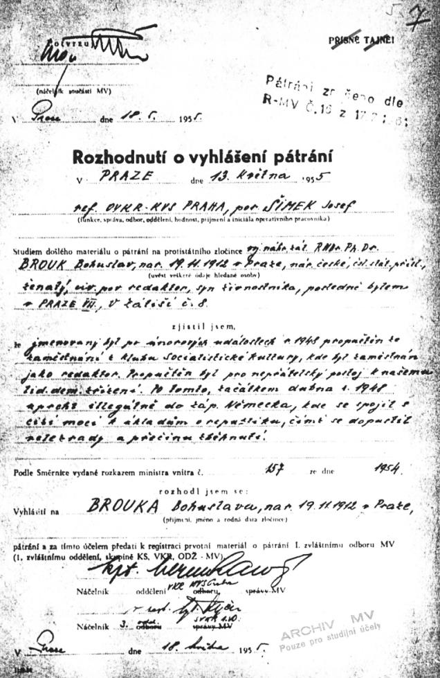 Vyhlášení pátrání, Agenturně pátrací svazek, Ministerstvo vnitra ČSR (18. května 1955)