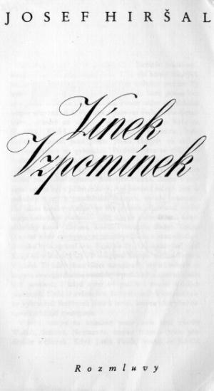 Josef Hiršal - Vínek vzpomínek (1991), titulní list