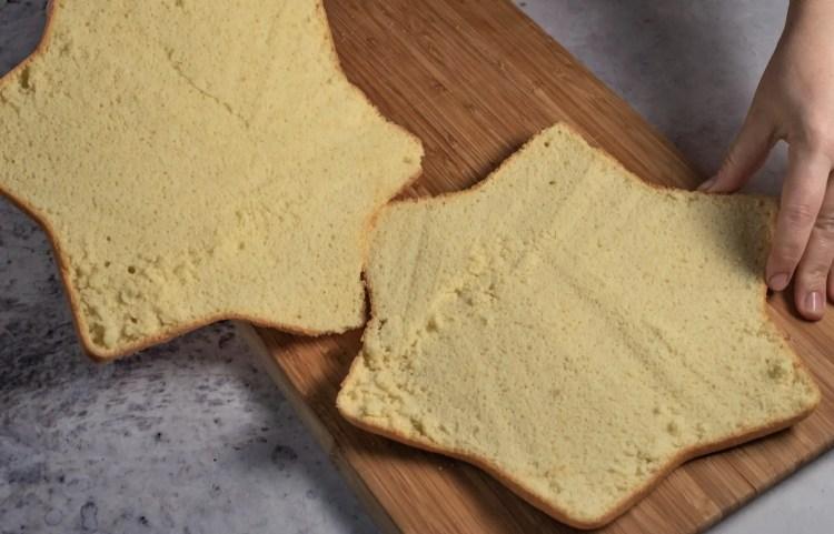 Sponge cake with speck