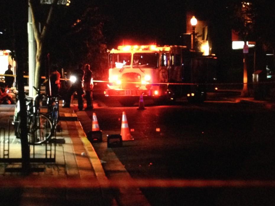 Police block off an area of the rampage shooting crime scene in Santa Barbara. Image: Santa Barbara Independent.