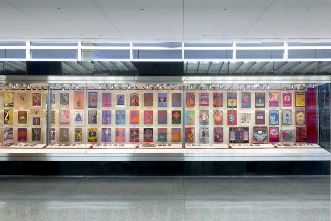 """""""When Art Rocked"""" at San Francisco International Airport. From left to right: Artwork by Wes Wilson, Alton Kelley and Stanley Mouse, Victor Moscoso, Bonnie MacLean, Rick Griffin, and Lee Conklin."""