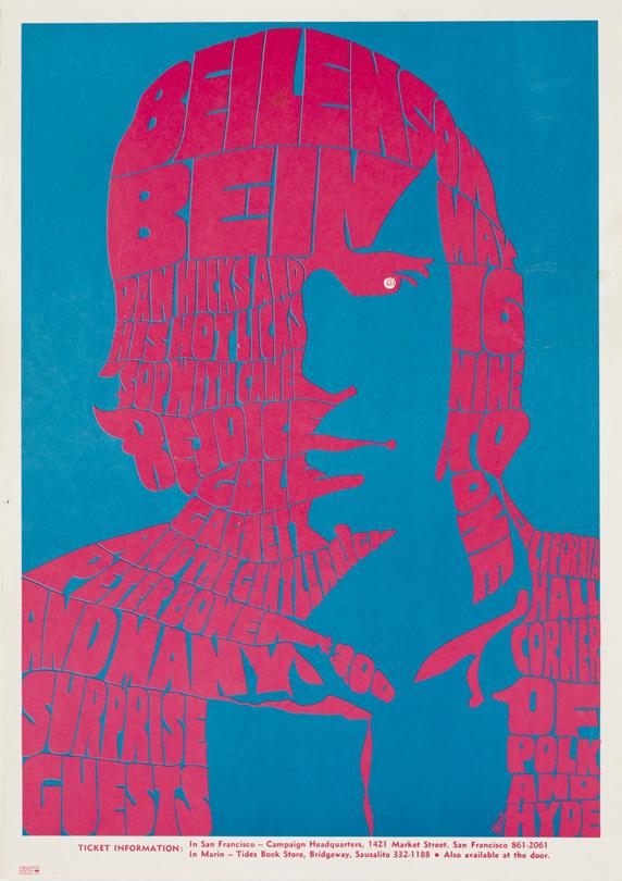 Beilenson Bein, May 16, 1967, California Hall, San Francisco. Artist: Unknown.