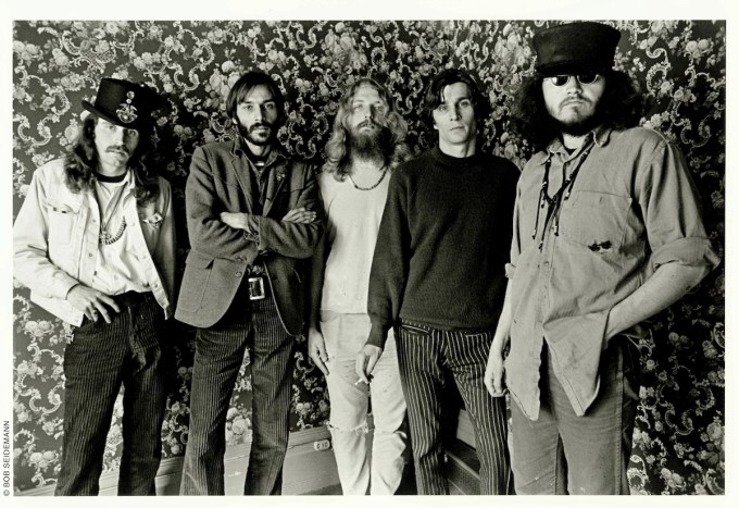 The Big Five, 1967. From left to right: Alton Kelley, Victor Moscoso, Rick Griffin, Wes Wilson, Stanley Mouse. Photo by Bob Seidemann.