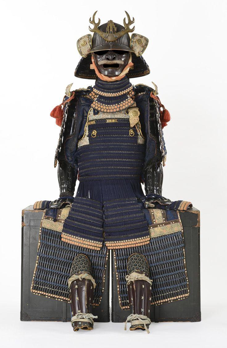 blue-laced domaru gusoku (armor) HELMET SIGNED TAKAYOSHI, MUROMACHI PERIOD (16TH CENTURY) MOUNTED EDO PERIOD (17TH CENTURY)