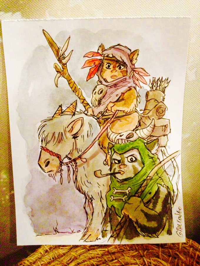 "Ewok art done on commission for author by ""Shadows of Endor"" artist Zack Giallongo."