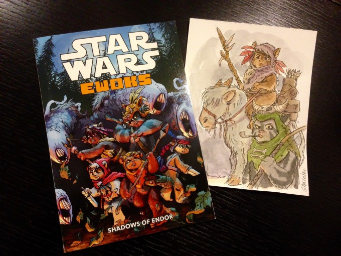 "Comics artist and author's ""Shadows of Endor"" graphic novel, and a commissioned Ewok sketch he did for me."