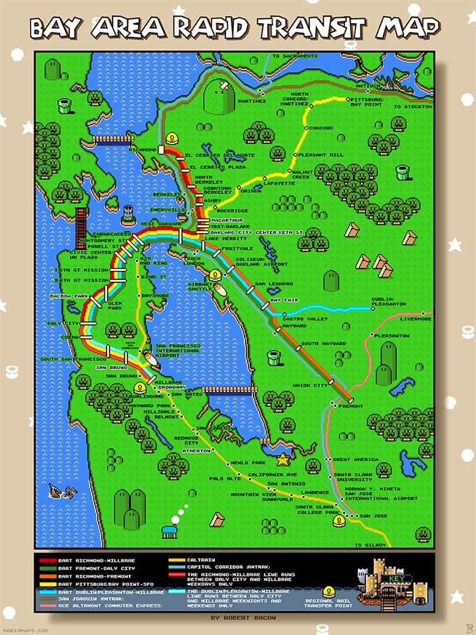San Francisco Bay Area Super Mario World map, complete with ...