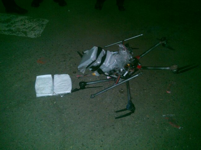 The crashed drone, with its meth payload. Photo: LA Weekly.