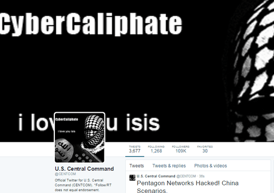The hacked Twitter page of the U.S. Central Command. (Twitter screenshot)