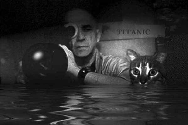 Chris Marker with his kitteh, Guillaume-en-Egypte.