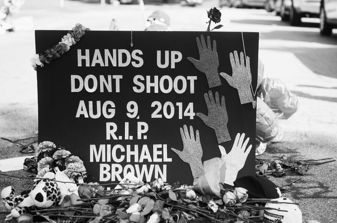 Michael Brown memorial in Ferguson, USA