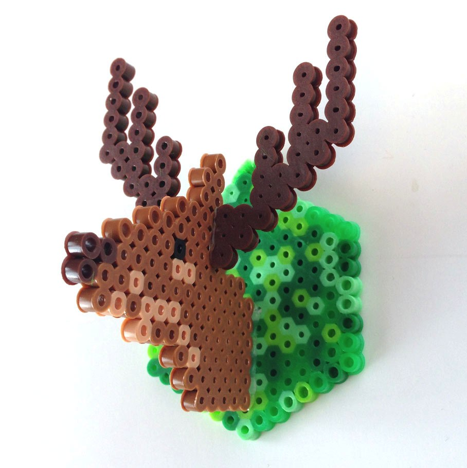 Excellent mini faux-deer head from Perler Beads / Boing Boing
