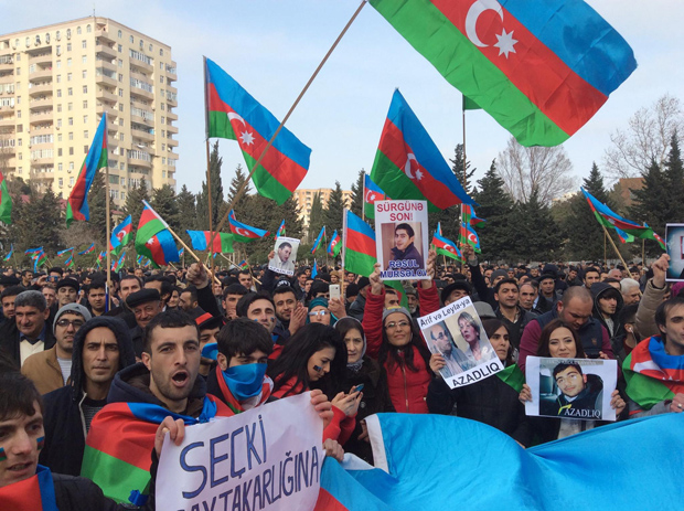 Azerbaijanis protest the European Games in March 2015. Image via Index on Censorship.