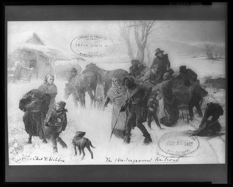 """Webber, Chas T. """"The underground railroad"""" Painting. 1893. From the Library of Congress."""